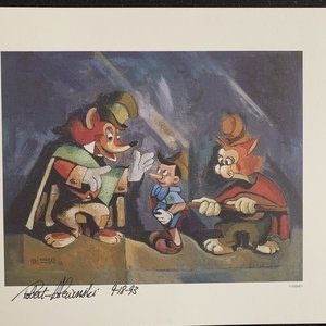 """Disney lithograph """"The Fox,The Cat, & The Puppet"""""""